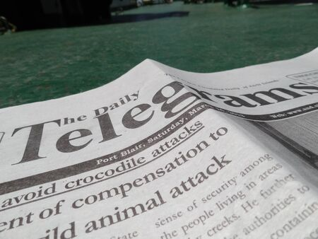 TELEGRAM, LOCAL NEWSPAPER. SHOT AT MORNING HOURS ON MARCH 17, 2013 IN PORT BLAIR , ANDAMAN, INDIA.