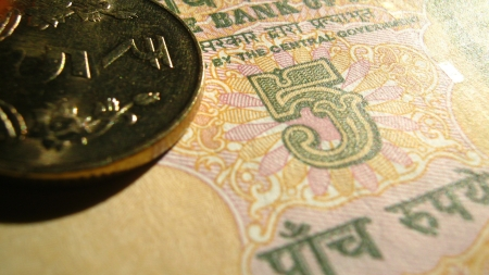 five rupee: FIVE RUPEE INDIAN MONEY AND INDIAN COINS Stock Photo