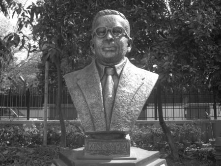 mn: BUST OF MN SAHA, AN INDIAN SCIENTIST. SHOT AT AFTERNOON HOURS ON APRIL 06, 2013 IN PATNA, INDIA.