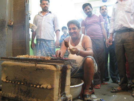 UNIDENTIFIED MAN COOK BEEF KABAB. SHOT DURING EVENING HOURS ON APRIL 18, 2013 IN PATNA, INDIA. Editorial