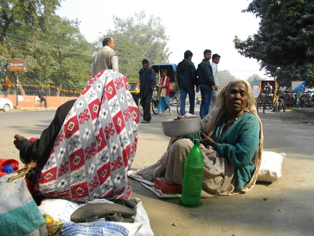 beggars: Beggars. Street Photo, Gandhi Maidan. Shot at Gandhi Maidan, Patna, morning hours on 19.12.14. Editorial