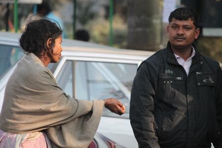 bihar: Indian poor begs. Shot at afternoon hours on 04.02.15 at Patna, Bihar, India. Editorial