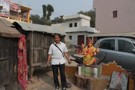 rural india: A Traveller at Ram Mandir. . Shot at afternoon hours on 15.02.15 at Kaunharra Ghat, Hajipur, Vaishali, Bihar, India.