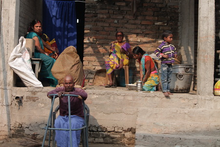 rural india: Rural People do domestic scores. Shot at afternoon hours on 15.02.15 at Kaunharra Ghat, Hajipur, Vaishali, Bihar, India.