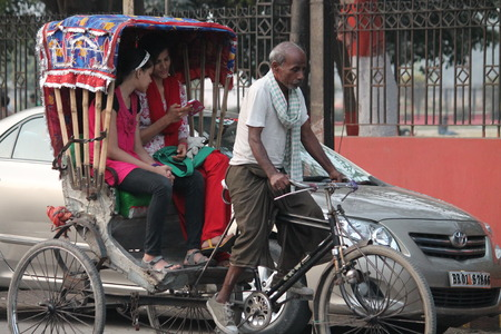gandhi: Travel In Indian rickshaw. Shot at Gandhi Maidan, Patna, Bihar at afternoon hours on 19.02.2015. Editorial