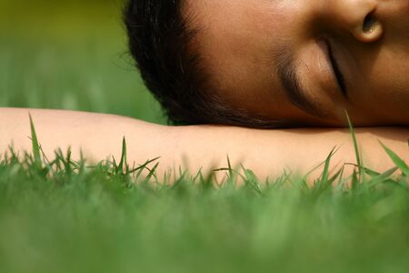 indian girl: Indian girl on grass.