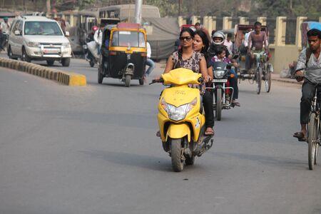 maidan: Unsafe driving. Street photo, Shot at Gandhi Maidan, Patna, Bihar, India on 20.02.15 at afternoon hours.
