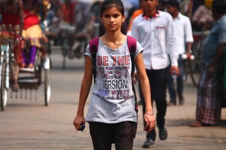 bihar: Indian woman at road. Street photo, Shot at Gandhi Maidan, Patna, Bihar, India on 20.02.15 at afternoon hours. Editorial