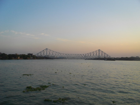 howrah: Howrah Bridge.  Shot at twilight hours at Kolkata, India on 08.03.15.