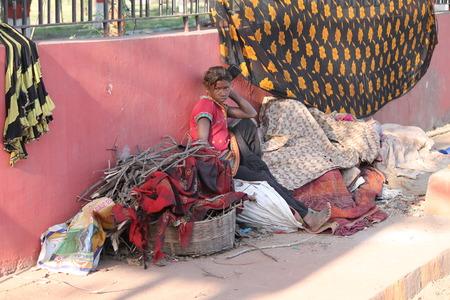 Indian poor Street photo. Shot at Gandhi Maidan, Patna, India at afternoon hours on 11.03.15. Editorial