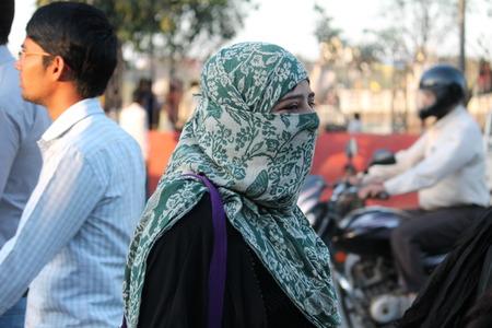 maidan: Muslim woman. Street photo. Shot at Gandhi Maidan, Patna, India at afternoon hours on 11.03.15.