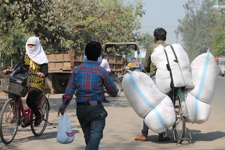 carrying heavy: Carrying heavy load. Shot at afternoon hours in Patna, Bihar, India on 12.03.15.