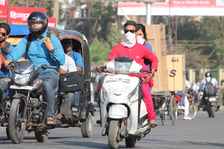 Precaution against SWINE FLU. Shot at afternoon hours in Patna, Bihar, India on 12.03.15.