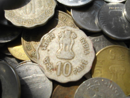 five rupee: Indian coins. Stock Photo