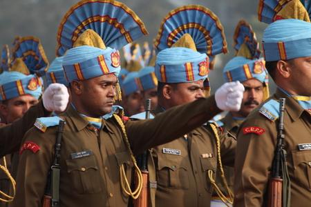 enact: Performers enact roles as India celebrates its 65th Republic Day at Gandhi Maidan, Patna, Bihar, India. Shot at morning hours on 26th January 2014. Editorial