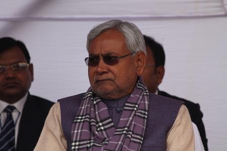 shri: Shri Nitish Kumar, Chief Minister, Bihar during the 115th birth anniversary of Netaji Subhas Chandra Bose. Shot at South Gandhi Maidan, Patna, Bihar, India, Morning, 23rd January 2014.
