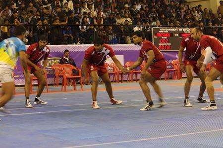 sports complex: Kabaddi  in progress. Shot at Evening hours at Pataliputra Sports Complex, Kankarbagh, Patna, Bihar, India, 24th January 2014.