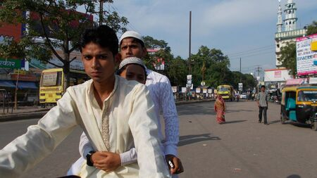 holiday stress: Muslim on a outing. Travel Patna at Eid. Shot at Patna, Bihar, India on 18.07.15 at morning hours.