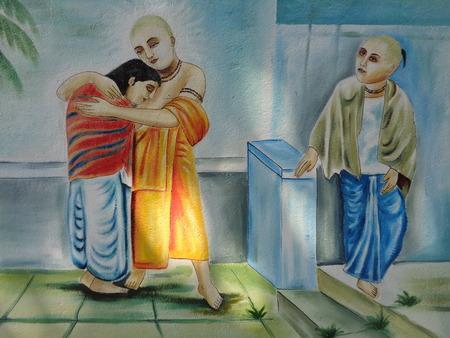 kolkata: Chaitanya Mahaprabhu wall painting at Chaitanya ghat,  Hoogly. Travel Kolkata. Shot afternoon on 16.10.16.