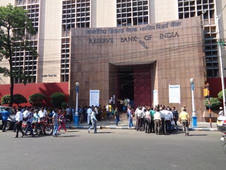 rupees: Kolkata people for change of 500 & 1000 note ias same became defunct as per Indian Government order.  Shot on afternoon of November 2016 at RBI Kolkata, India.