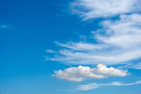 wispy: Sunny weather with cumulus clouds on bright blue sky