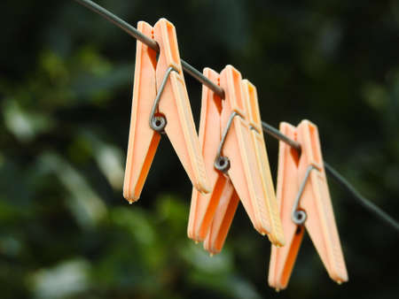 A close up shot of plastic cloth clips. These cloth clips prevent cloths from winds.