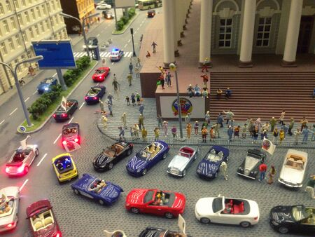 Holiday convoy of cars N1 in the toy city.