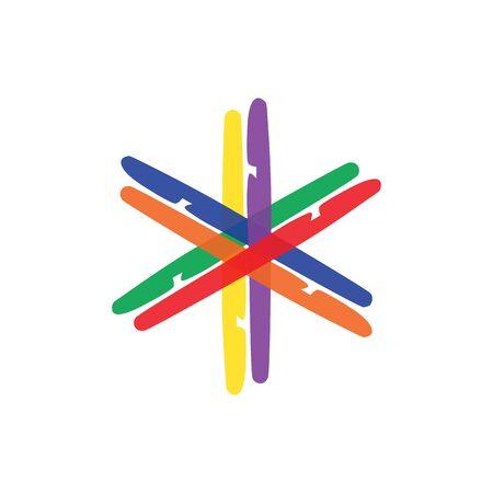 colorful hexagon logo web icon vector template. designed like a rainbow to show unity, creativity, integrity, community, plural, trust, balance, variation, etc.