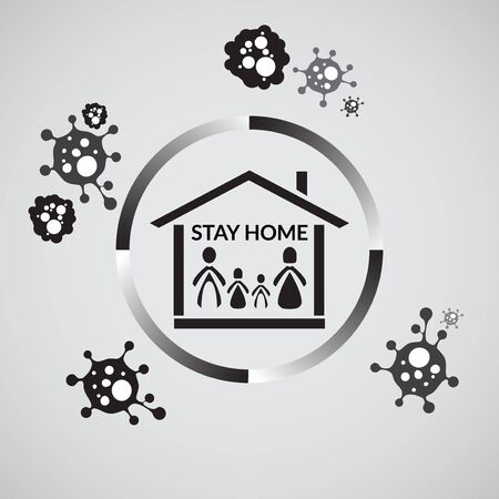 vector illustration of stay home. stay at home as long as possible to prevent family from corona virus. covid-19 disease. Vectores