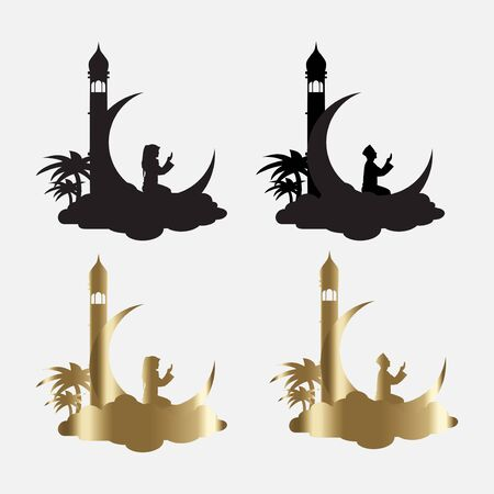 silhouette of mosque, crescent moon, and people pray. suitable for islamic activities such as ramadan kareem, hajj, eid al-fitr and eid al-adha.