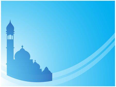 蓝色的伊斯兰背景墙纸。适合斋月或开斋节问候。向量