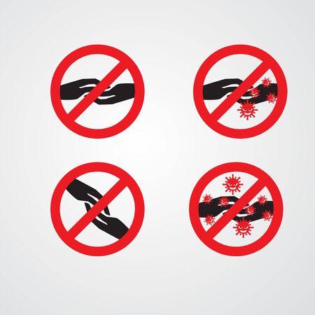 set of hands sign vector illustration. designed for coronavirus theme