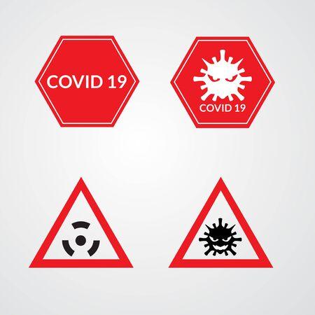 set of coronavirus sign vector illustration. covid 19 icon logo with background isolated