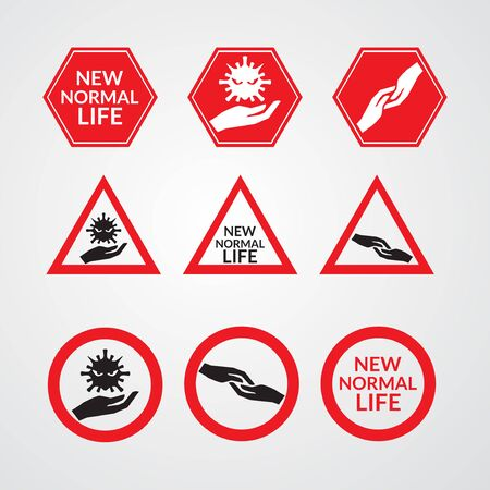 set of new normal sign vector illustration. new normal concept after coronavirus disease