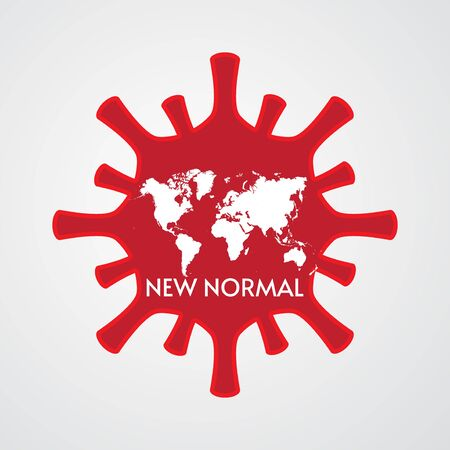 vector illustration of new normal and world map concept designed on corona virus frame