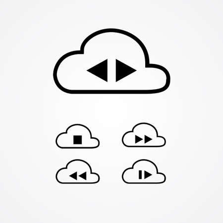 cloud music data storage vector illustration. music button on cloud illustration, such as play, stop, pause, forward, backward and record