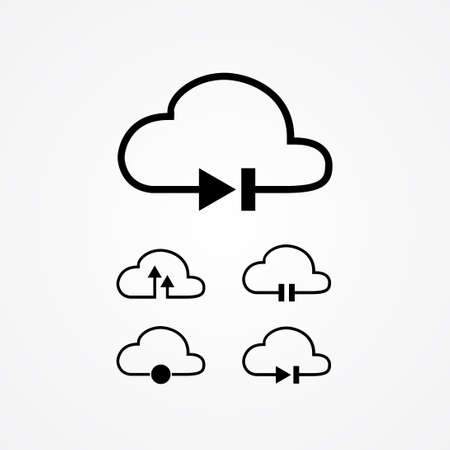 cloud music data storage vector illustration. music button on cloud illustration, such as play, stop, pause, forward, backward and record