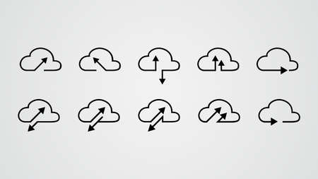 cloud tech collection. upload download data. cloud storage. data transfer. vector illustration