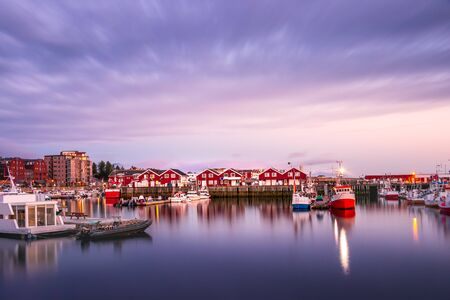 View of the Port of Bodo at evening in summer, Norway.