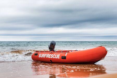 Surf Rescue boat on the beach in Burnie, Tasmania. Stock Photo