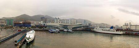 Panoramic view of the port and the international passenger terminal of Busan, South Korea. Stok Fotoğraf