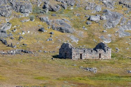The viking old church in the historic hvalsey viking settlement, Greenland.
