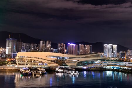 Night view of the port and the international passenger terminal of Busan, South Korea.
