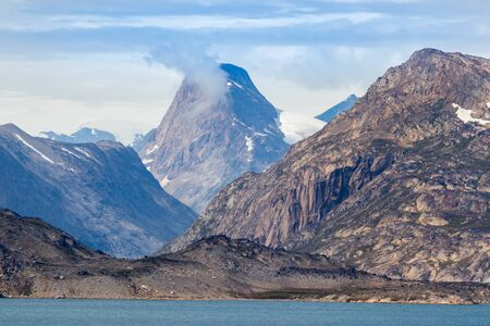 Detail of the fjord Skjoldungen, a coastal island in the southeastern shores of Greenland. It is located between two fjords, the Southern Skjoldungen Fjord.