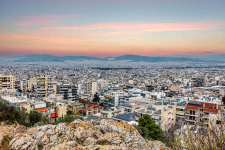 Panoramic view of the Galatsi area at sunset in Athens, Greece.