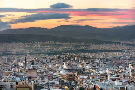 Aerial panoramic view of the Galatsi area at sunset in Athens, Greece. Standard-Bild