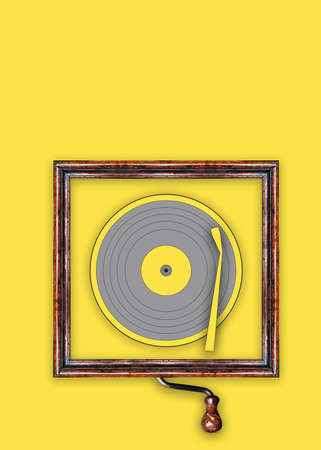 Vynil disc illustration with a vintage frame over the color of the year 2021 as background. Standard-Bild
