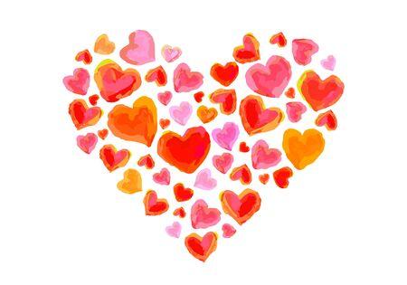 Watercolor heart-shaped illustrations Illusztráció