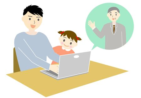 men having web meetings with a child