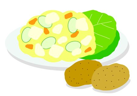Illustration of potato salad and potato